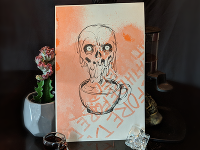 Drip Coffee Skull Risoprint