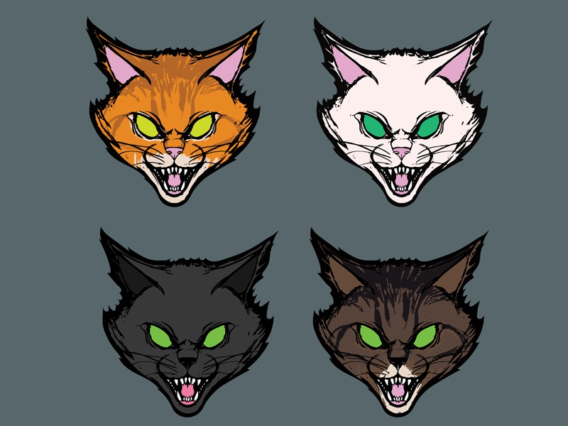 Cat Stickers pattern detail meow hiss cute illustration kitty illustration vectorart digital vector sticker kittens kitten cats cat