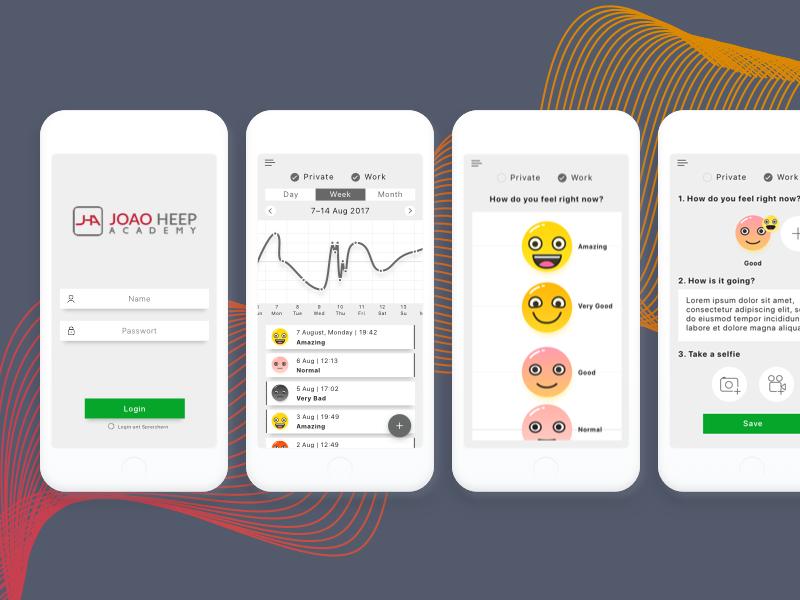 Emotion-Monitoring app's UI/UX rapid prototyping teddygraphics uiux design uiux