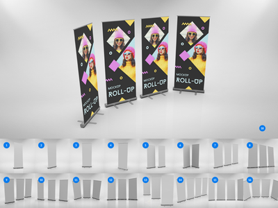 17 PREMIUM Rollups Mockups with 1 FREE Scene teddygraphics free rollups mockup rollups mockups rollup mockup rollups
