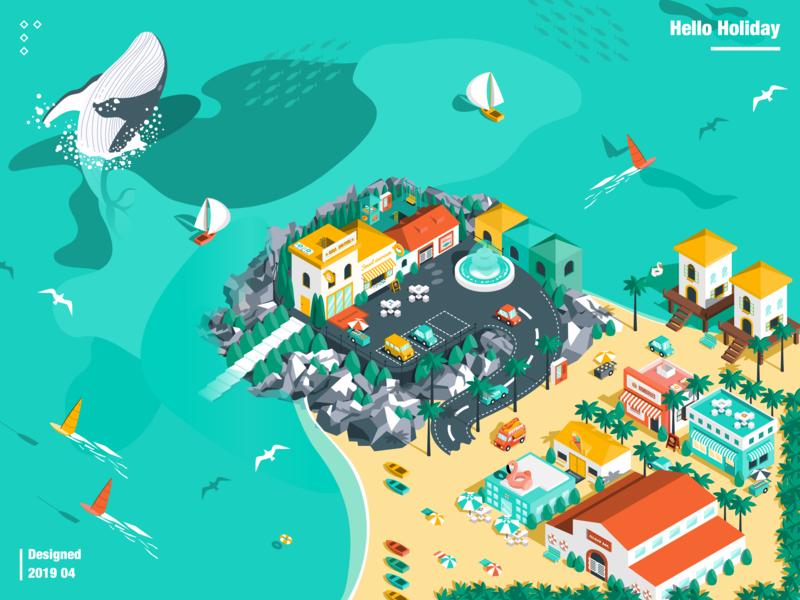 Island Holiday whale sea island 2.5d illustration