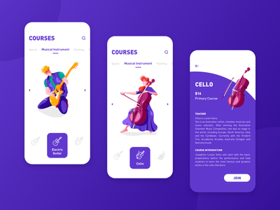 Extra Curricular Courses blue purple male female icon musical instrument guitar electric guitar cello illustration class course app app ui