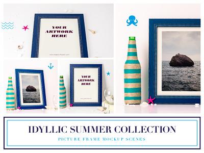 Idyllic Picture Frame Mockup love heart flowers feminine minimal photo bundle styled photo wood nature theme frame mockup picture frame