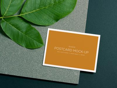 Postcard Mockup minimal layers green leafs stone mockup product postcard