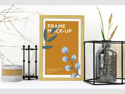 Wood Frame Mock-up infusion d7200 smart object print digital real photo custom scene styled photo natural elements wood product mockup frame