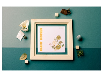 Square Frame Mockup infusion print digital props flowers layers product mockup square picture frame wooden frame