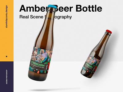 Amber Beer Bottle Mockup beer label design scene generator real photography product mockup beer bottle beer branding beer label beer bootle mockup