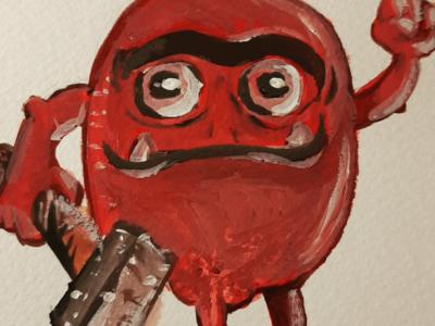 Red little demon sketch gouache