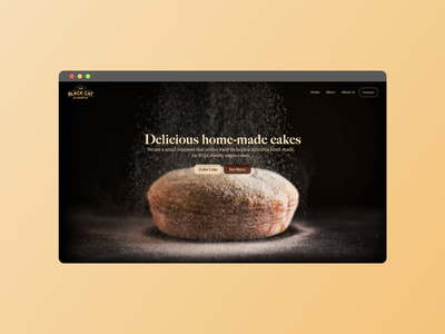 The Black Cat Cakery - Home header ux ui vegan vegan food cakery homepage webflow uidesign web design brand identity