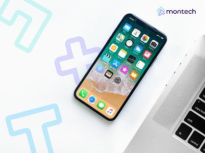 Montech - App Icon tech logo logos logomark graphic design startup identity design brand identity logo design app icon logo design
