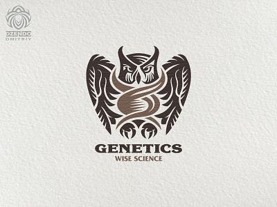 Genetics owl logo logotype animal beautiful design brand logo science wisdom bird genetics owl