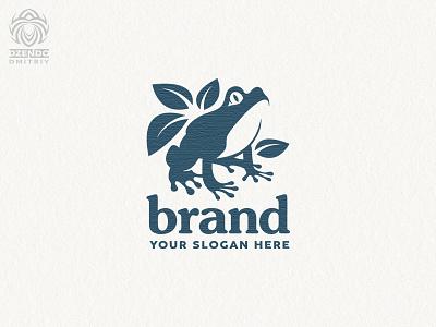 Nature Frog Logo branding animal beautiful design logotype brand logo super cute nature petals croaks toad frog