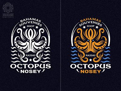 Octopus Nosey logo branding beautiful design identity logotype brand logo tentacles shellfish ocean marine octopus
