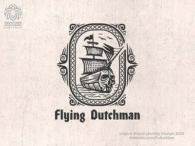 Flying Dutchman logo identity design logotype brand beautiful branding logo sails skull flying battleship warship ship