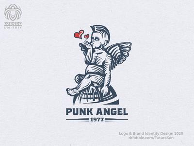 Little Punk Angel Logo logotype brand design beautiful branding logo earth stylish airy kiss heart love hairstyle punk