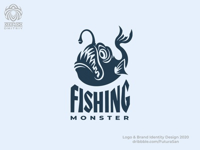 Fish monster logo design beautiful branding buy logo logotype brand logo danger depth sea teeth monster fish