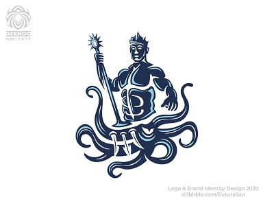 Poseidon Kills Hydra Logo identity buy logo logotype beautiful design brand logo branding sea