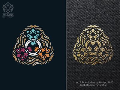 Three Heads Of A Lion Logo buy logo predator animal beautiful design identity brand logo branding triple head lion