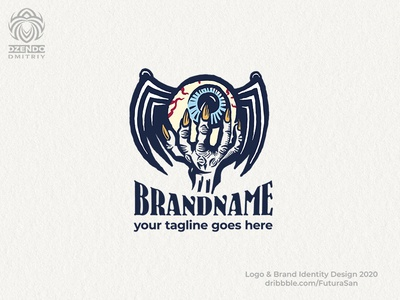 Monster Hand With Winged Eye Logo beautiful brand logotype buy logo design logo branding horror wings eye hand monster
