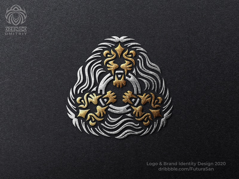 Three Heads Of A Lion Logo beautiful design identity logotype brand logo branding leo teeth ring triple lion