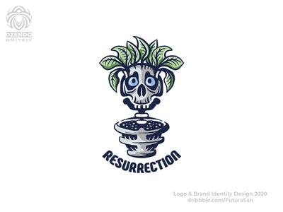 Resurrection of the skull illustration brand buy logo beautiful design logotype logo branding nature resurrection plant skull