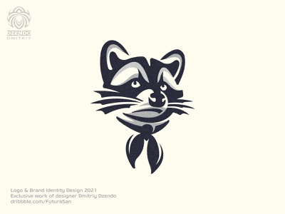 Raccoon Logo logotype design animal brand logo buy logo beautiful branding scout funny dog raccoon