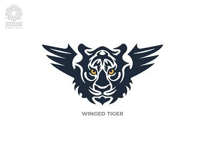 Tiger With Wings Logo logo design beautiful branding winged beast wings tiger