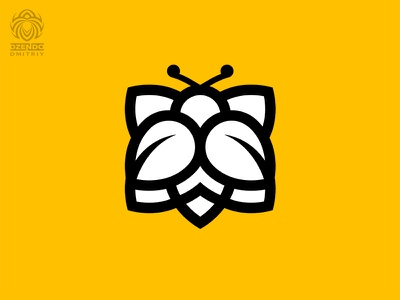 Bee on flower logo logotype design logo branding flower bee