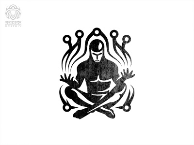 Crypto Man Logo man meditation branding logo