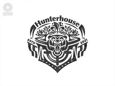 Hunting logo heraldic logo identity bear hunting branding logo