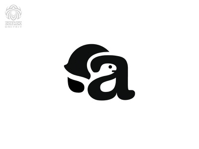 The turtle and the letter A letter a tortoise turtle logotype branding logo