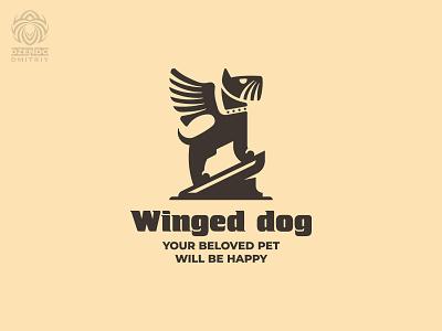 Winged dog logo pets animal winged wings dog branding logo