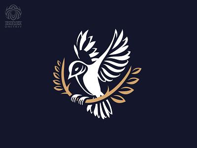 Bird With a Branch Logo flying wings golden branch bird logotype branding logo