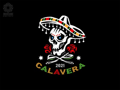 Skull In A Mexican Hat Logo day of the dead halloween holiday flowers roses hat mexican skull branding logo
