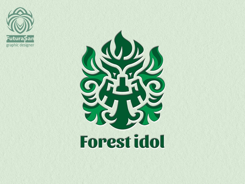 Forest Idol Logo buy logo beautiful identity logotype brand logo crown beard leaves green deity idol god forest