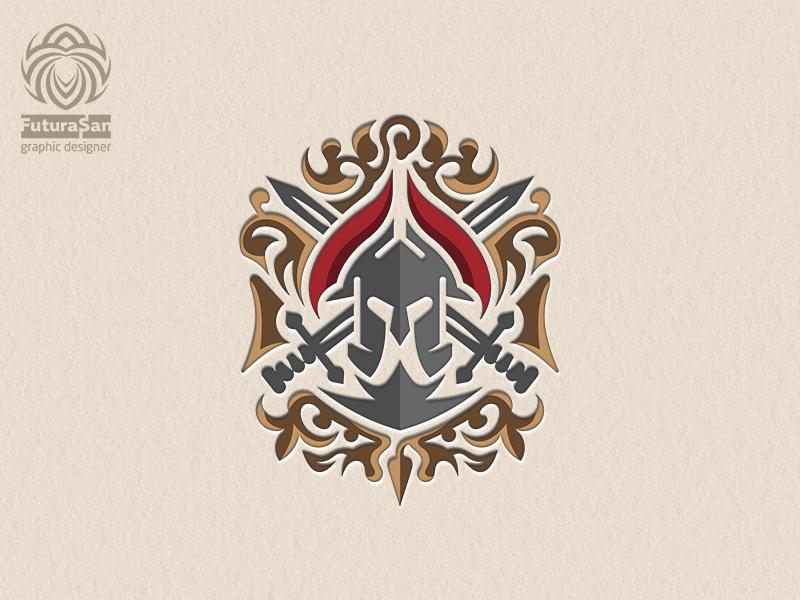 Spartan Logo Heraldry buy logo buy logotype identity brand logo heraldic heraldry sword helmet warrior sparta
