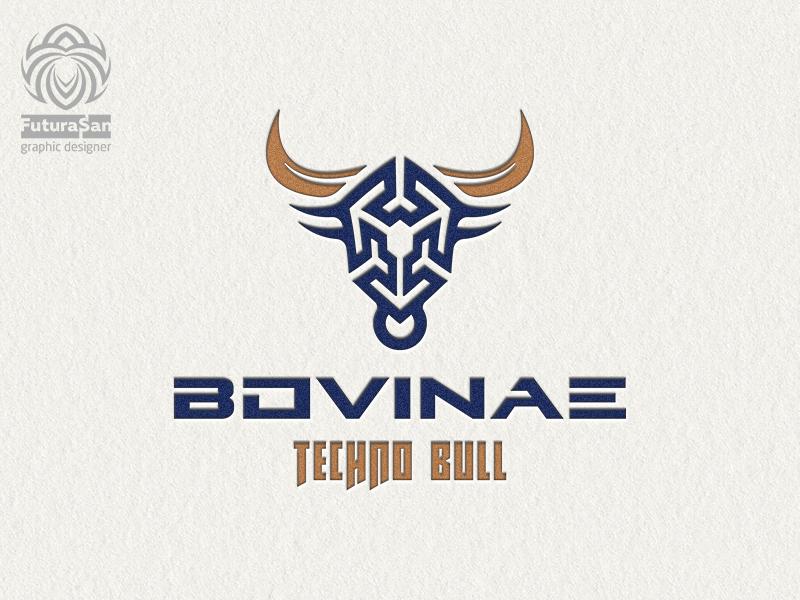 Bovinae Techno Bull Logo symbol animal branding design beautiful buy logo logotype identity brand logo muzzle horns abstraction buffalo bull