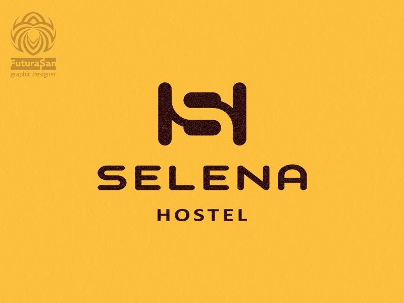 Selena Hostel Logo typography vector branding design beautiful buy logo logotype identity brand logo sleep overnight rest hostel hotel