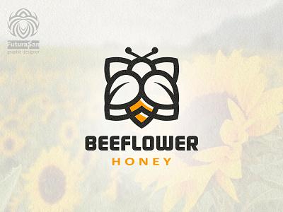 Beeflower Logo vector symbol branding design beautiful buy logo logotype identity brand logo pollen honey flower bee