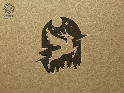 Winged Deer Logo animal branding design beautiful logotype identity brand logo flies wings winged deer