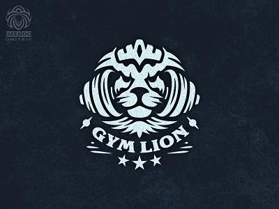 Gym Lion logo vector animal beautiful logotype identity brand logo dumbbell fitness bodybuilding gym lion