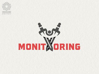 Security monitoring logo black branding design vector logotype identity brand logo protection sword eye surveillance security
