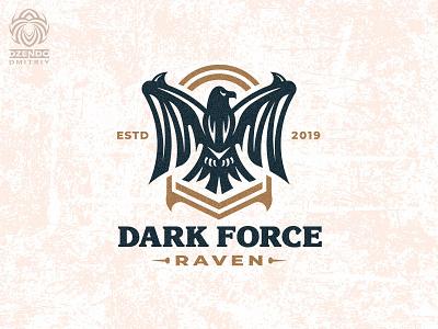 Dark Raven logo vector branding beautiful design logotype identity brand logo eagle bird black