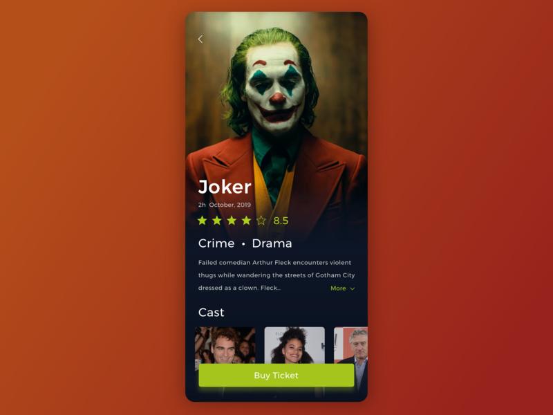 Joker app movie web design ux ui