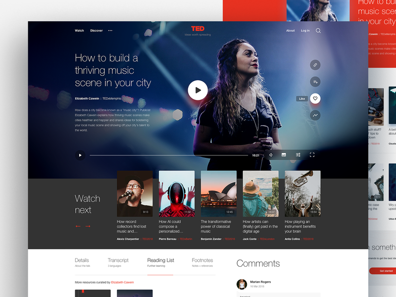 TED — talk page landing page website video player ted web design ux ui