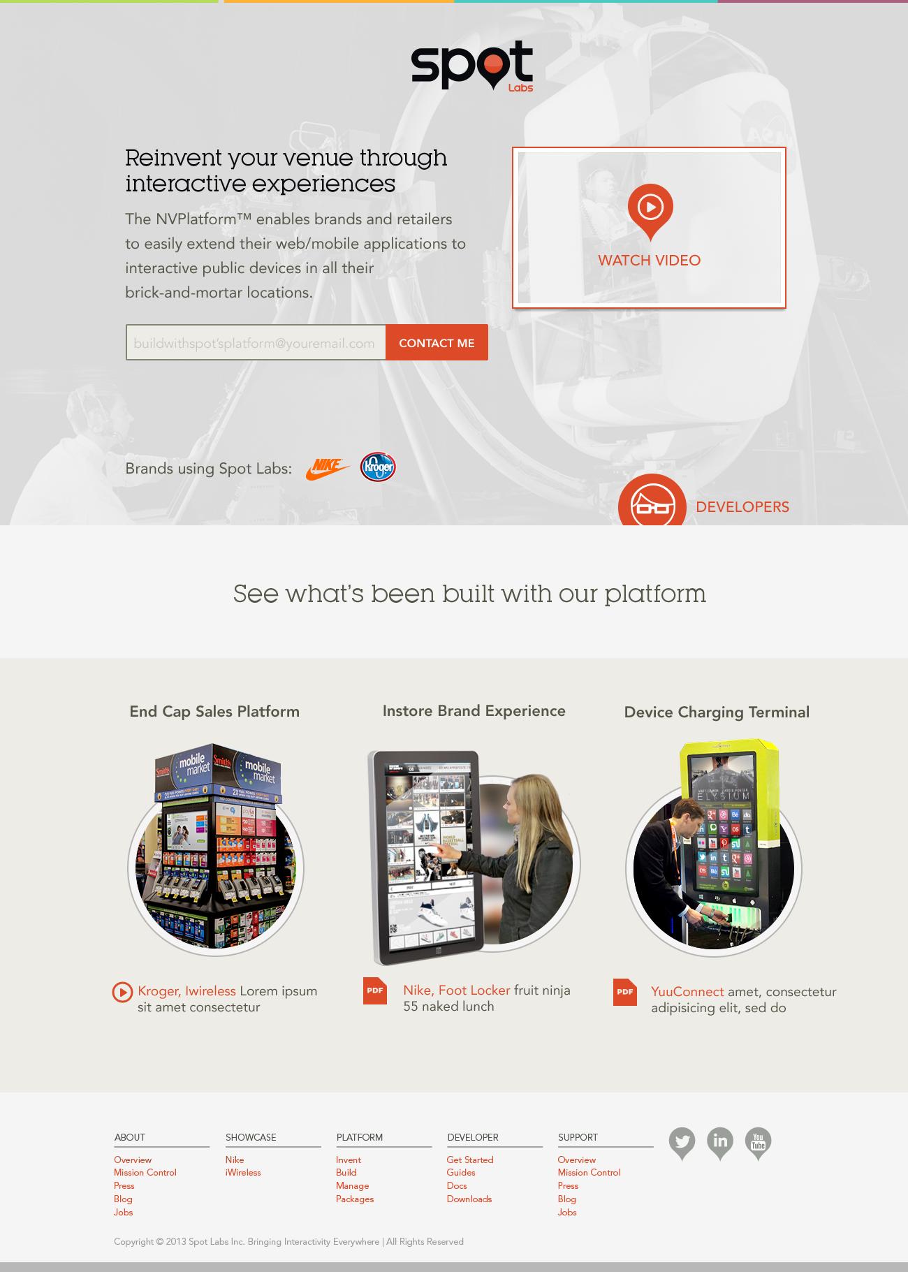 Spot homepage