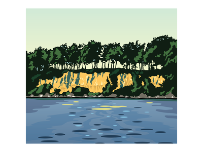 Lake Waconia illustrator nature outdoors cliff trees water lake landscape illustration