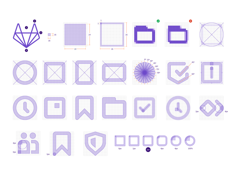 Icon Docs Visuals icon design iconography grid documentation docs icons icon