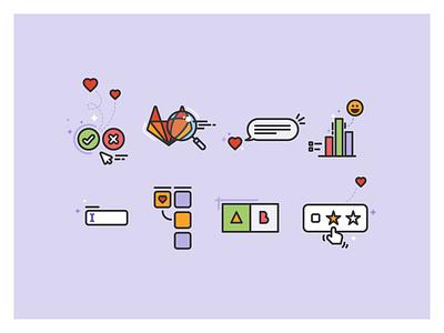 Research spots gitlab tanuki magnifying glass chart input chat testing usability emoji heart research ux spot illustration illustration