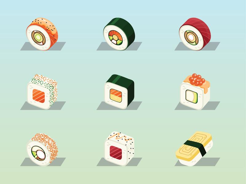 Sushi Roll Illustration 01 symbol sushi sketch japanese food icon food illustration food